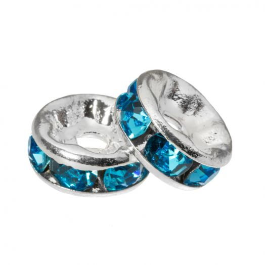 Rhinestone Spacers (6 x 3 mm) Blue (10 Stuks)