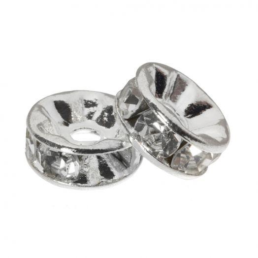 Rhinestone Spacers (10 x 4 mm) Clear Crystal (10 Stuks)