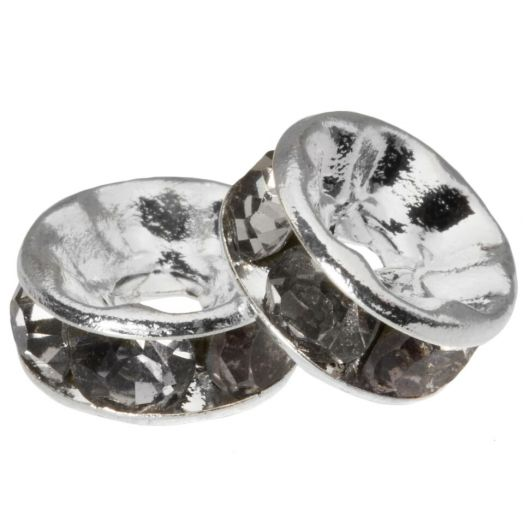 Rhinestone Spacers (8 x 4 mm) Grey (10 Stuks)