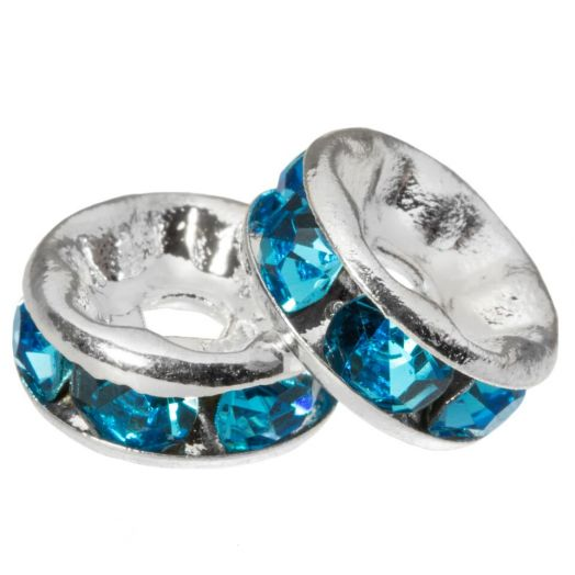 Rhinestone Spacers (8 x 4 mm) Blue (10 Stuks)