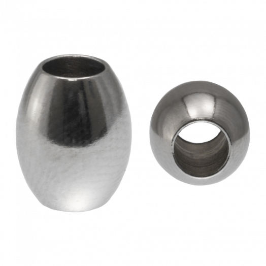 Stainless Steel Kralen Groot Gat (10 x 8 mm) Antiek Zilver (10 Stuk)