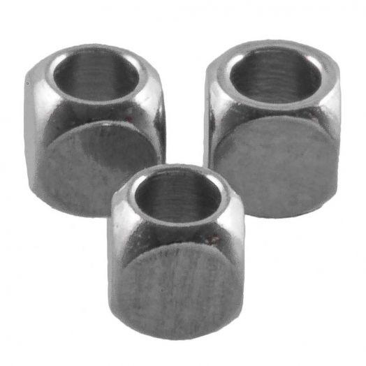 Stainless Steel Kralen Kubus (3 x 3 mm) Antiek Zilver (50 Stuks)