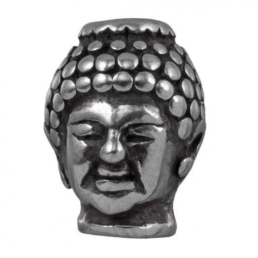 Stainless Steel Kralen Buddha (13 x 10 mm) Antiek Zilver (1 Stuks)