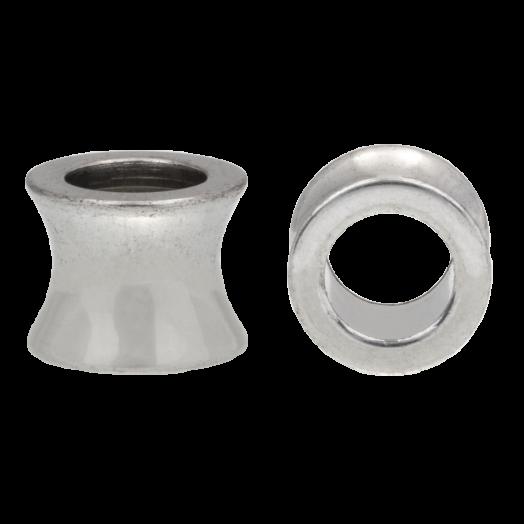 Stainless Steel Kralen Groot Gat (10 x 9 mm) Antiek Zilver (5 Stuks)
