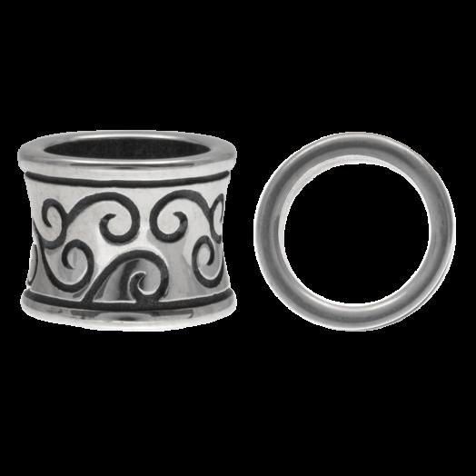 Stainless Steel Kralen Groot Gat (11.5 x 9 mm) Antiek Zilver (1 Stuks)