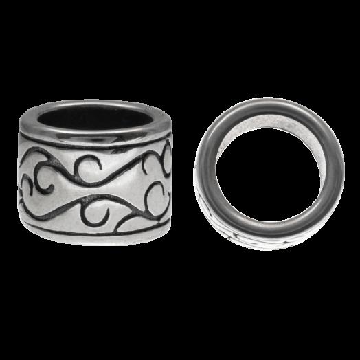 Stainless Steel Kralen Groot Gat (12 x 9 mm) Antiek Zilver (1 Stuks)