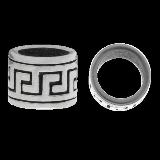 Stainless Steel Kralen Groot Gat (11.5 x 8.5 mm) Antiek Zilver (1 Stuks)