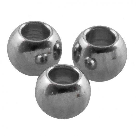Stainless Steel Kralen (3 x 2 mm) Antiek Zilver 25 Stuks)