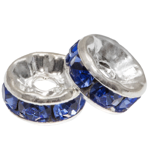 Rhinestone Spacers (6 x 3 mm) Azure (10 Stuks)