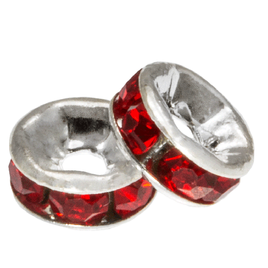 Rhinestone Spacers (6 x 3 mm) Red (10 Stuks)