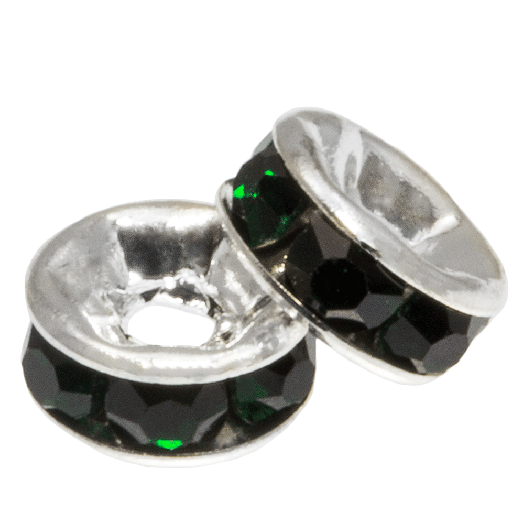 Rhinestone Spacers (6 x 3 mm) Dark Green (10 Stuks)
