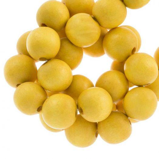 Houten Kralen Intense Look (16 mm) Yellow (25 stuks)
