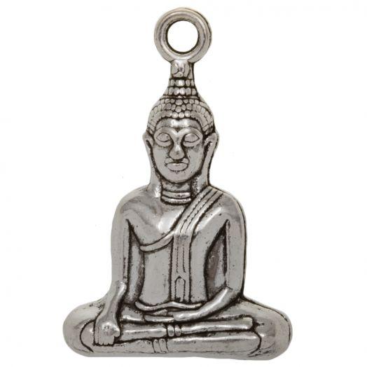 Bedel Buddha (35 x 23 x 8 mm) 2 Stuks (Antiek Zilver)