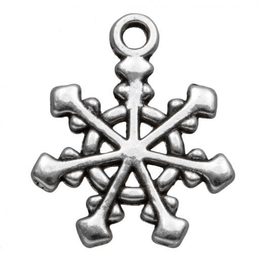 Bedel Sneeuwvlok (20 x 17 mm) Antiek Zilver (10 Stuks)