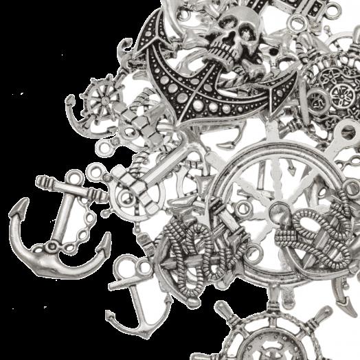 Voordeelpakket - Bedelmix Anker (diverse maten) Antiek Zilver (40 Stuks)