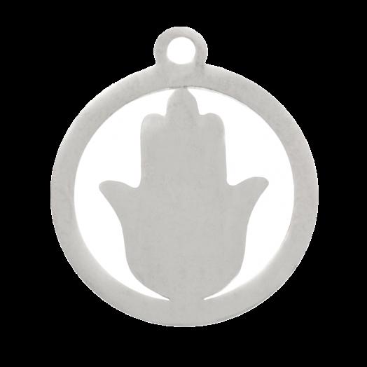 Stainless Steel Bedel Hamsa (16 x 15 mm) Antiek Zilver (4 Stuks)