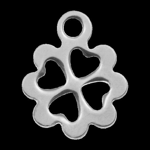 Stainless Steel Bedel Klaver (13 x 10 mm) Antiek Zilver (20 Stuks)