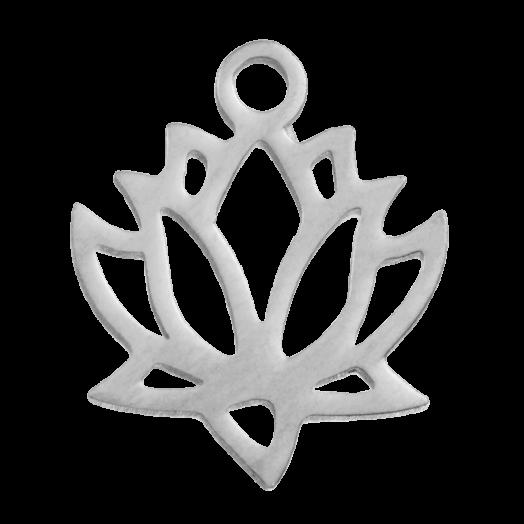 Stainless Steel Bedel Lotus (13 x 11 mm) Antiek Zilver (4 Stuks)
