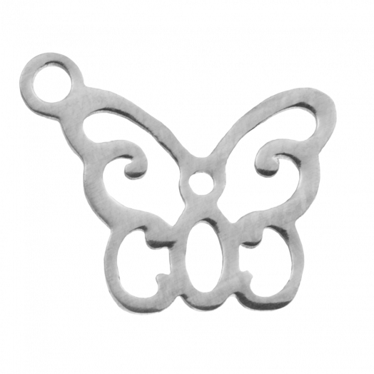 Stainless Steel Bedel Vlinder (13 x 11 mm) Antiek Zilver (4 Stuks)