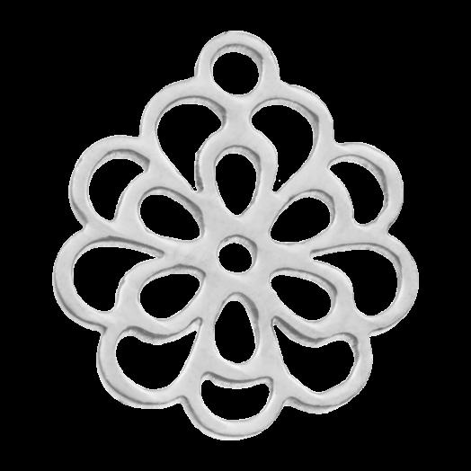Stainless Steel Bedel Bloem (14 x 11 mm) Antiek Zilver (5 Stuks)