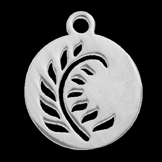 Stainless Steel Bedel Blaadje (14 x 12 mm) Antiek Zilver (4 Stuks)