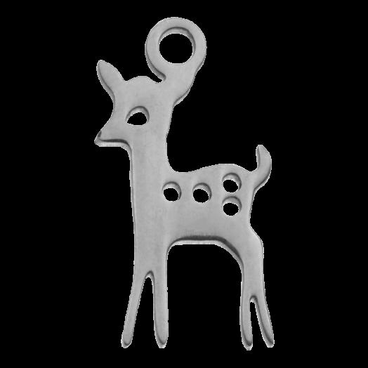 Stainless Steel Bedel Hert (15 x 8 mm) Antiek Zilver (4 Stuks)