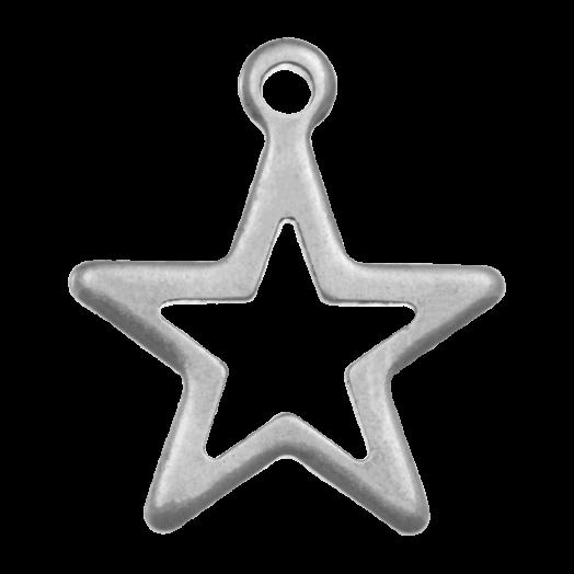 Stainless Steel Bedel Ster (15 x 13 mm) Antiek Zilver (20 Stuks)