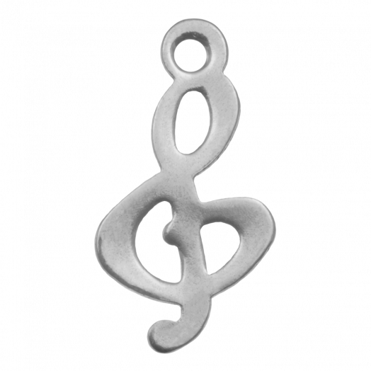 Stainless Steel Bedel Muziek Noot (16 x 8 mm) Antiek Zilver (20 Stuks)