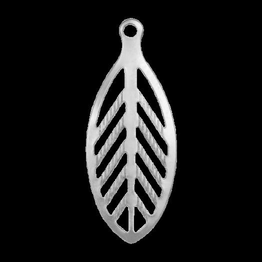 Stainless Steel Bedel Blaadje (23 x 9 mm) Antiek Zilver (50 Stuks)