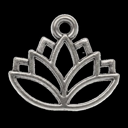 Bedel Lotus (16 x 14 mm) Antiek Zilver (25 Stuks)