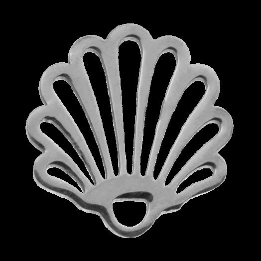 Stainless Steel Bedel Schelp (14 x 13 mm) Antiek Zilver (4 Stuks)