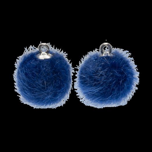Pompom Bedels (12 mm) Antiek Zilver / Royal Blue (10 Stuks)