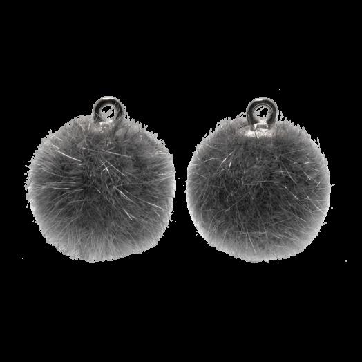 Pompom Bedels (15 mm) Antiek Zilver / Grey (10 Stuks)