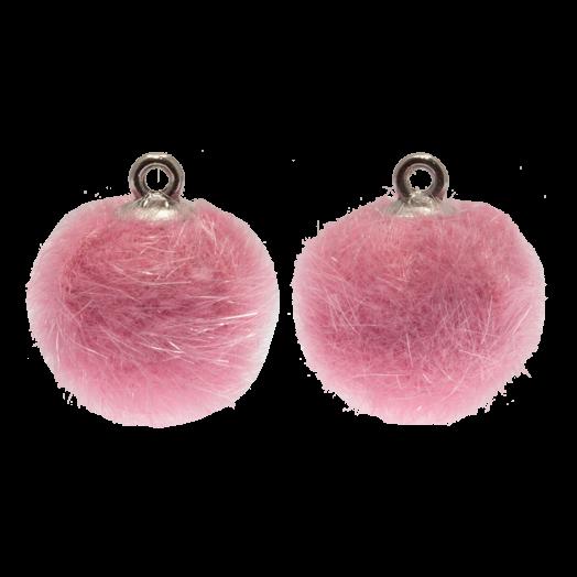 Pompom Bedels (15 mm) Antiek Zilver / Party Pink (10 Stuks)