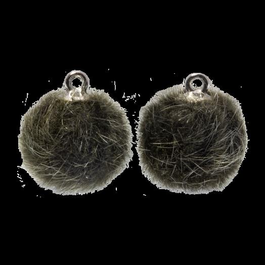 Pompom Bedels (15 mm) Antiek Zilver / Army Green (10 Stuks)