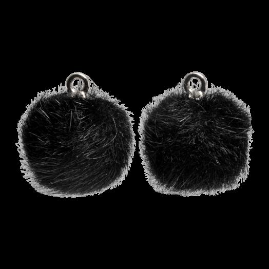Pompom Bedels (15 mm) Antiek Zilver / Black (10 Stuks)