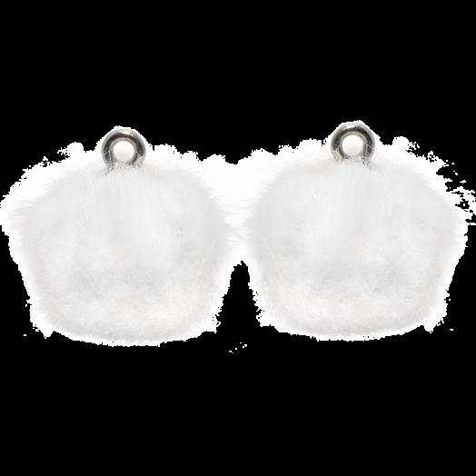 Pompom Bedels (15 mm) Antiek Zilver / White (10 Stuks)