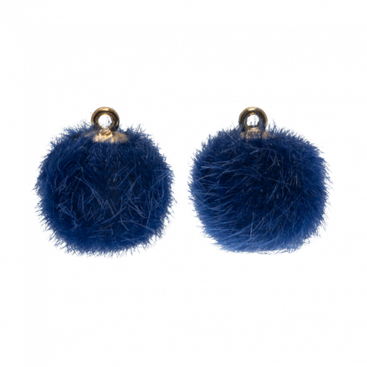 Pompom Bedels (15 mm) Goud / Royal Blue (10 Stuks)