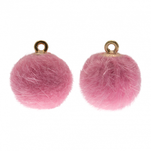 Pompom Bedels (15 mm) Goud / Party Pink (10 Stuks)