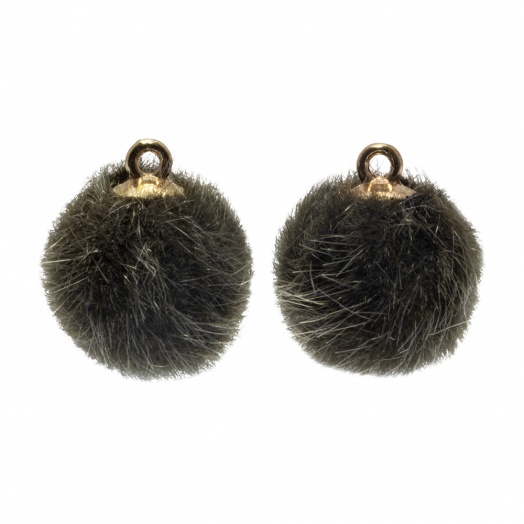 Pompom Bedels (15 mm) Goud / Army Green (10 Stuks)