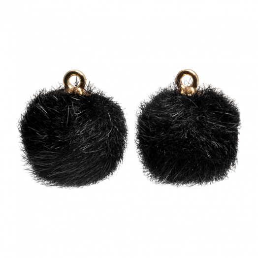 Pompom Bedels (12 mm) Goud / Black (10 Stuks)