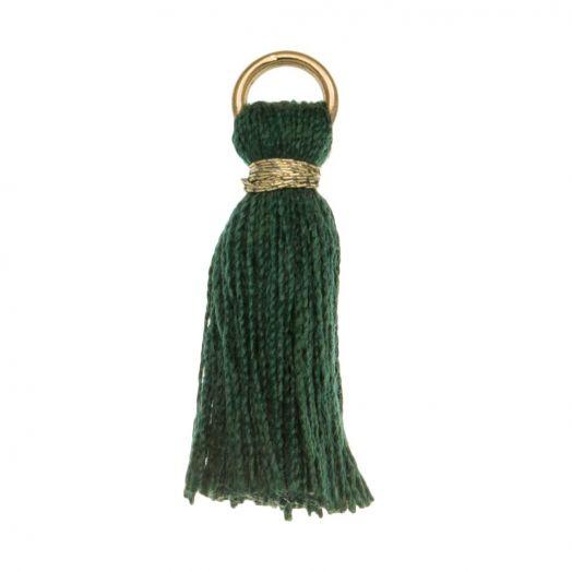 Kwastjes (18 mm) Emerald Green / Goud (10 Stuks)
