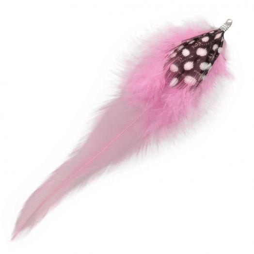 Veertjes (10 cm) Dots Party Pink (10 Stuks)