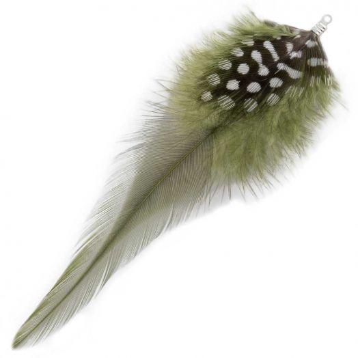 Veertjes (10 cm) Dots Moss Green (10 Stuks)