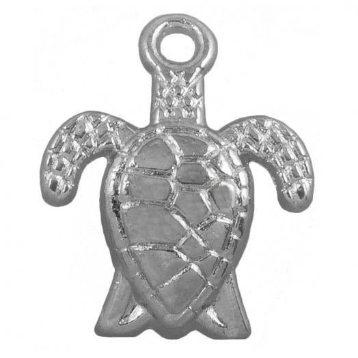 Bedel Schildpad  (16 x 8 mm) Antiek Zilver (25 Stuks)