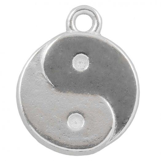 Bedel Ying Yang (17 x 13 mm) Antiek Zilver (25 Stuks)