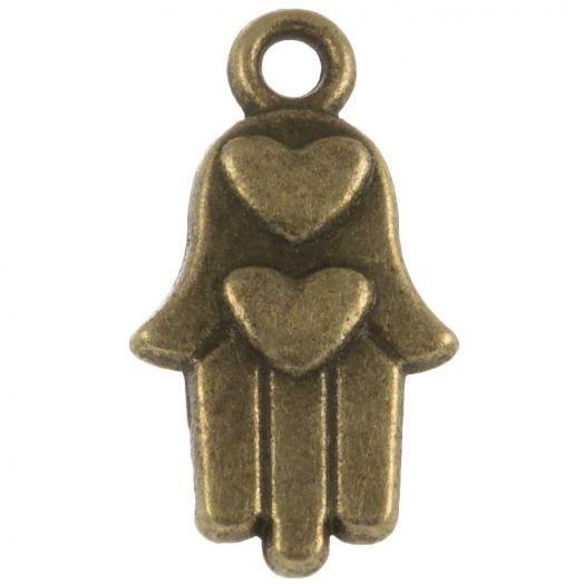 Bedel Hamsa (15 x 9 mm) Brons (25 Stuks)
