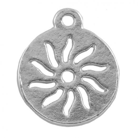 Bedel Zon (12 mm) Antiek Zilver (25 Stuks)