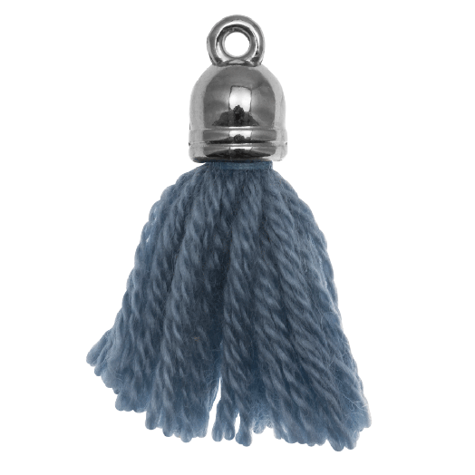 Kwastjes (20 mm) Aegean Blue / Zilver (5 Stuks)