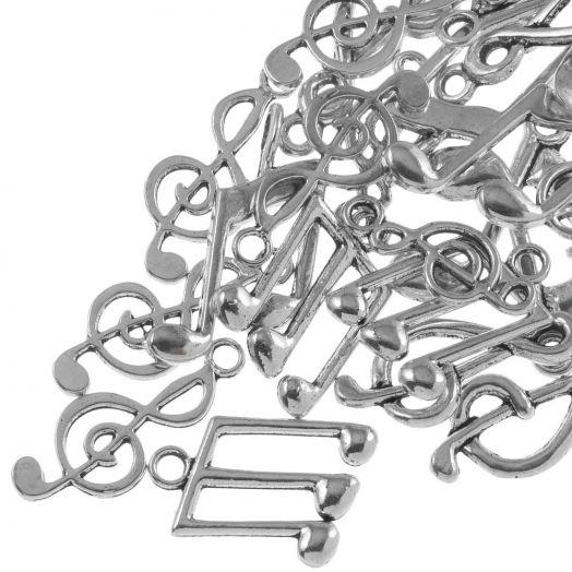 Voordeelpakket - Bedelmix Muziek Noten (diverse maten) Antiek Zilver (30 Stuks)